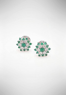 Crivelli earrings with diamonds and emeralds CRV4619