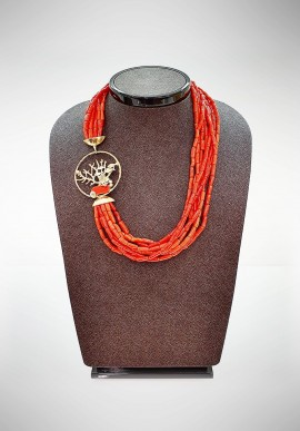 Collana Soara silver and coral necklace SOA20003