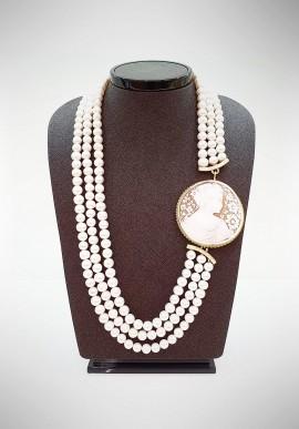 Soara silver, pearls and cameo neckalce SOA20003