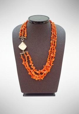 Soara silver and Sciacca coral necklace SOA20005