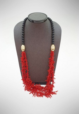 Soara Silver, coral and onyx necklace SOA20006