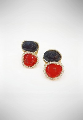 Soara silver, onyx and coral earrings SOA20013