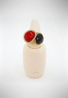 Soara Silver, onyx and coral ring SOA20014