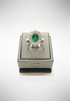 Crivelli white gold ring with diamonds and emeralds CRV6001