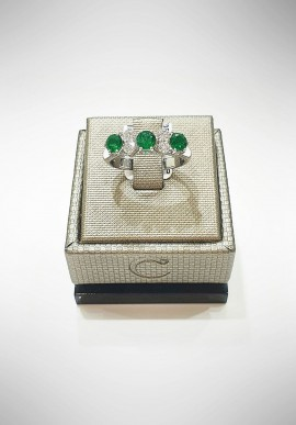 Crivelli white gold ring with diamonds and emeralds CRV6002