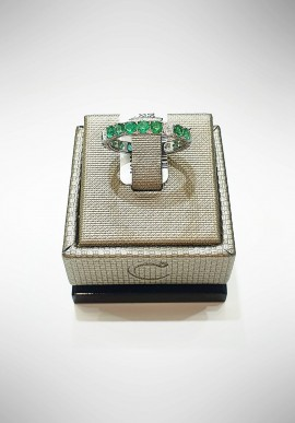Crivelli white gold ring with diamonds and emeralds CRV6003