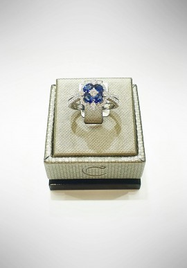 Crivelli white gold ring with diamonds and sapphires CRV6004