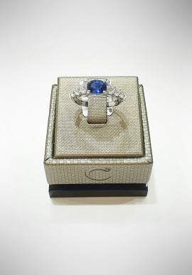 Crivelli white gold ring with diamonds and sapphires CRV6005