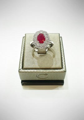 Crivelli white gold ring with diamonds and ruby CRV6007