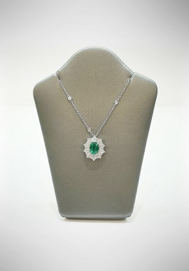 Crivelli white gold necklace with brilliants and emerald CRV6011