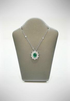 Crivelli white gold necklace with brilliants and emerald CRV6011