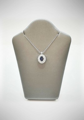 Crivelli white gold necklace with brilliants and sapphire CRV6012