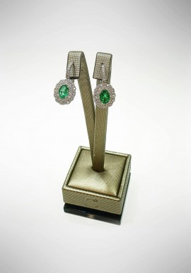 Crivelli white gold earrings with brilliants and emeralds CRV6017