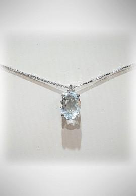 Donnaoro white gold necklace with diamonds and aquamarine DNO21