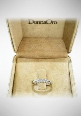Donnaoro white gold trilogy ring with diamonds DNO09