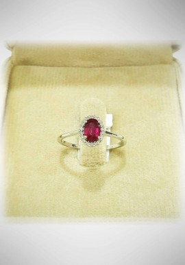 Donnaoro white gold ring with diamonds and ruby DNO40