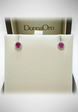 Donnaoro white gold earrings with diamonds ruby DNO43