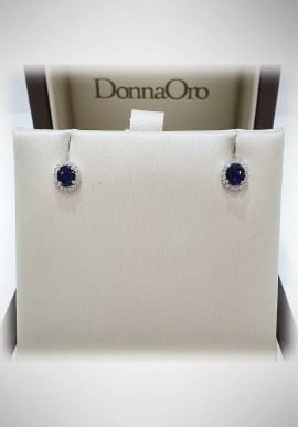 Donnaoro white gold earrings with diamonds and sapphire DNO44