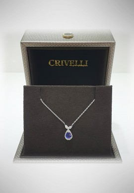 Crivelli white gold necklace with diamonds and sapphire CRV2101