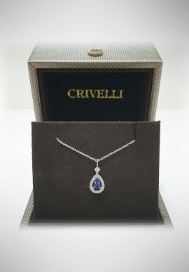Crivelli white gold necklace with diamonds and sapphire CRV2102