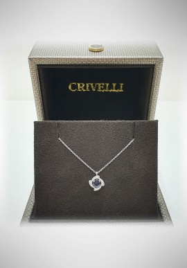 Crivelli white gold necklace with diamond and sapphire CRV2103