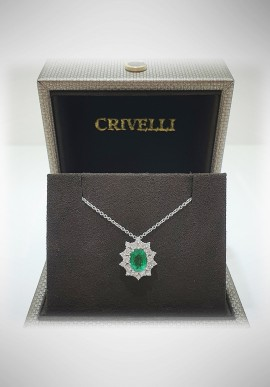Crivelli white gold necklace with diamonds and emerald CRV2104
