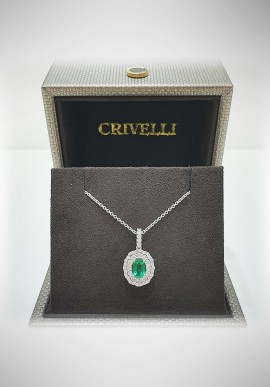 Crivelli white gold necklace with diamonds and emerald CRV2105