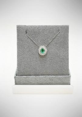 Lunatica white gold neckalce with diamonds and emerald LNT01