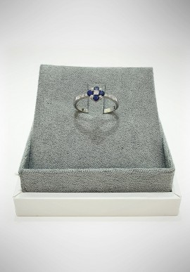 Lunatica white gold ring with diamonds and sapphires LNT14