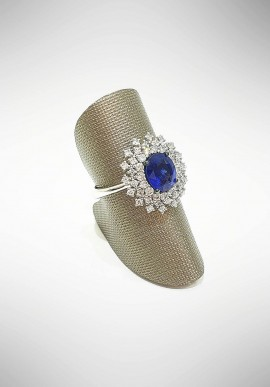 ProJ white gold ring with diamonds and sapphire PROJ1