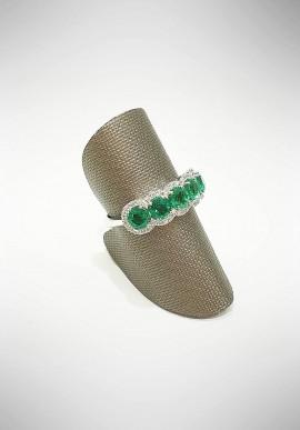 ProJ white gold Veretta ring with diamonds and emeralds PROJ3