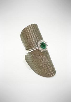 ProJ white gold ring with diamonds and emerald PROJ4