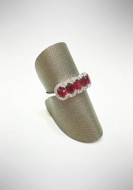 ProJ white gold Veretta ring with diamonds and rubies PROJ5
