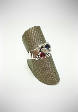 Arte Orafa white gold Trilogy ring with diamond, sapphire and ruby GIRT2