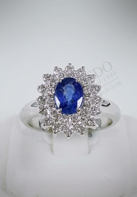 Crivelli ring with diamonds and sapphire CRV101