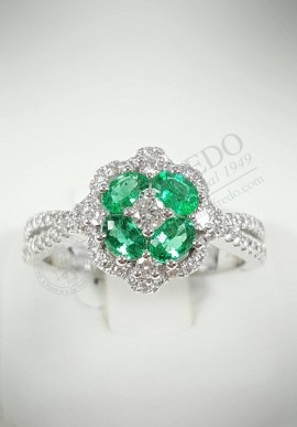 Crivelli ring with diamonds and emeralds CRV106