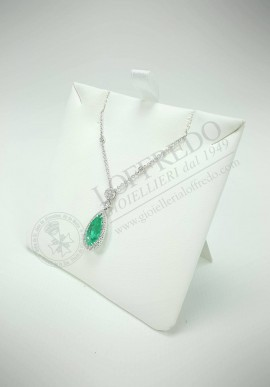Crivelli necklace with diamonds and emeralds CVR127