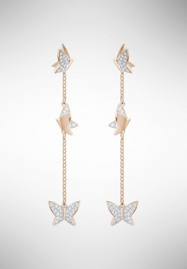 Swarovski Lilia Pierced Earrings, White, Rose gold plating 5382364