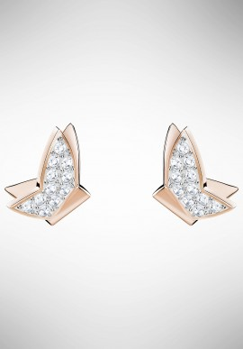 Swarovski Lilia Fig Pierced Earrings, White, Rose gold plating 5382367
