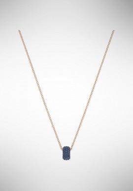 Swarovski Stone Round Pendant, Blue, Rose gold plating 5389431