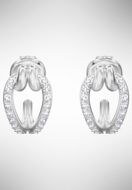Swarovski Lifelong Hoop Pierced Earrings, Small, White, Rhodium plating 5390814