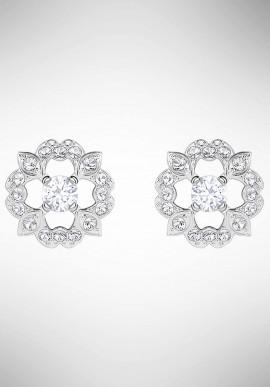 22a5fc25b Swarovski Sparkling Dance Flower Pierced Earrings, White, Rhodium plating  5396227