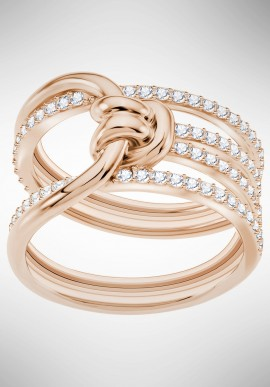 Swarovski Lifelong Wide Ring, White, Rose gold plating 5402432