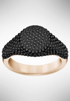 Swarovski Stone Signet Ring, Black, Rose gold plating 5412036