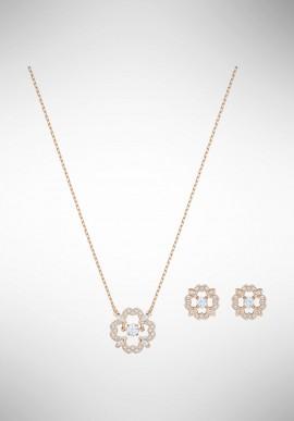 Swarovski Sparkling Dance Flower Set, White, Rose gold plating 5408439