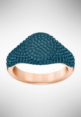 Swarovski Stone Signet Ring, Blue, Rose gold plating 5406201
