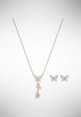 Set Collana e orecchini Swarovski Lilia, bianco, placcato oro rosa 5382365