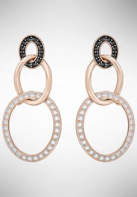 Orecchini Swarovski Greeting Ring, nero, placcato oro rosa 5389673