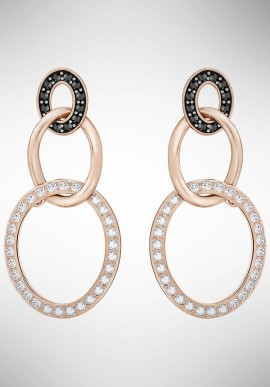 Swarovski Greeting Ring Pierced Earrings, Black, Rose gold plating 5389673