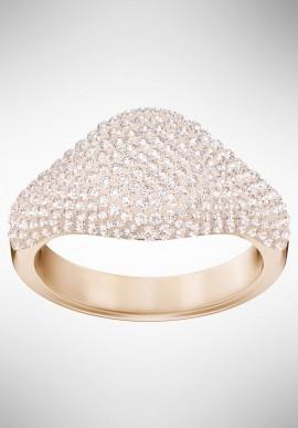 Swarovski Stone Signet Ring, Pink, Rose gold plating 5412064